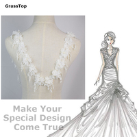 2016 New 3D White Flower Lace Tassel Lace Wedding Dress Decoration Accessories Lace Collar With Plastic