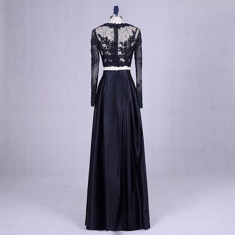 2 Piece Prom Dresses 2018 Lorie Navy Blue Elegant Long Sleeve