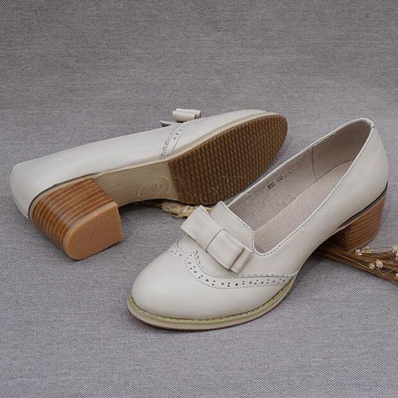 Femmes Blue Chaussures Pour Vintage beige Haute Nouveau Oxford D'école on Véritable Épais Bout Pompes Cuir Talons Rond Slip Sapatos Beige 8nwPON0kX