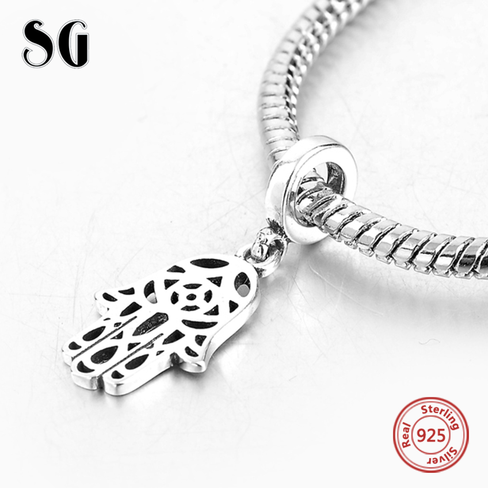 Silver Galaxy 925 Sterling Silver Fatimas hand Pendant Fit Authentic Pandora Charms Bracelet Beads For Women Fashion Jewelry