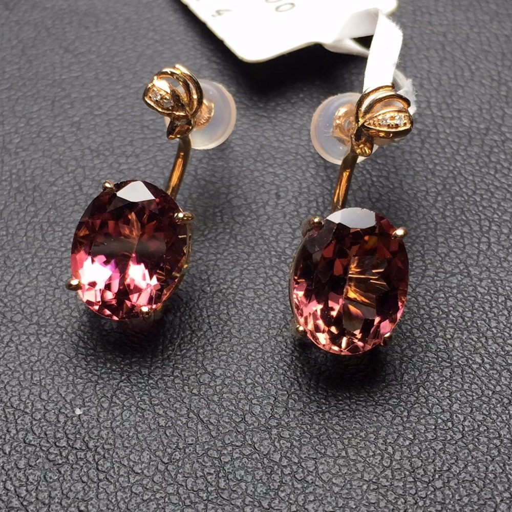 Fine Jewelry Real 18k Rose Gold 100 Natural Tourmaline Gemstone And Diamonds Female Earrings For
