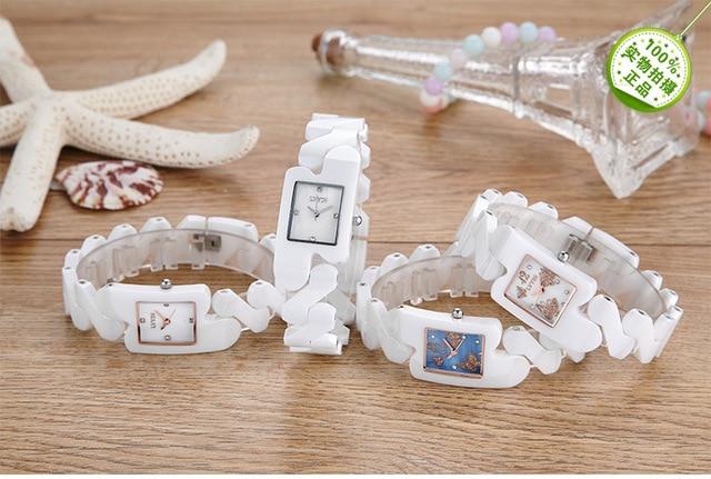 Raffreddare Ragazze Designer Speciale Braccialetto Orologi Farfalla Moda Pieno di Ceramica Quadrato Orologio Da Polso Al Quarzo Vestito Delle Donne Relojes NW9001