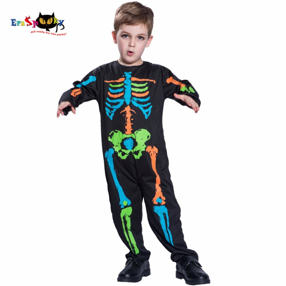 e05d02f3fbd Carnival Anime Costume Halloween Costume For Kids Scary Boy Skeleton Costume  Black Pyjama Jumpsuit Halloween Boys Cosplay 2017
