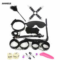 12PCS BDSM Sex Bondage Set HandCuffs Collars Whip Rope Sex Toys For Couples Women Gay Nipple Clamps Vibrator Anal Butt Plug Tail