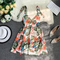 Holiday Beach Summer 2019 New Leaf Print V collar Thin Casual Dress Women Sleeveless Sexy Vestidos G675