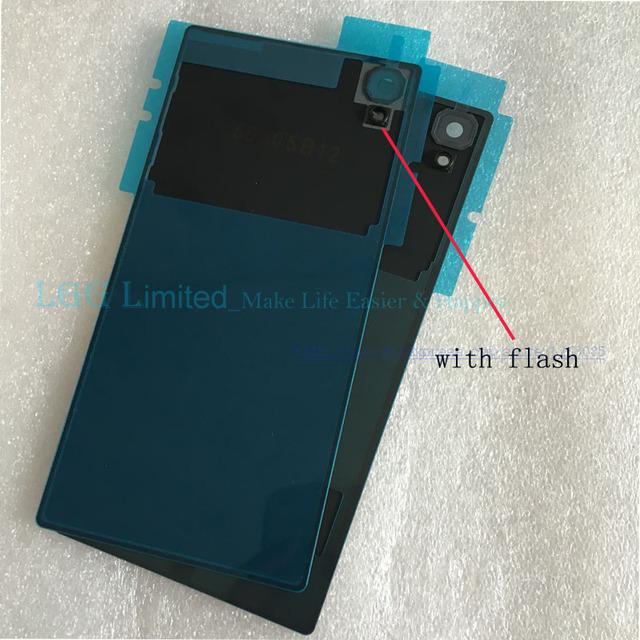 """Oem matte tampa traseira para sony xperia z5 tampa traseira de vidro da bateria habitação com o flash luz substituição parts-5.2"""""""