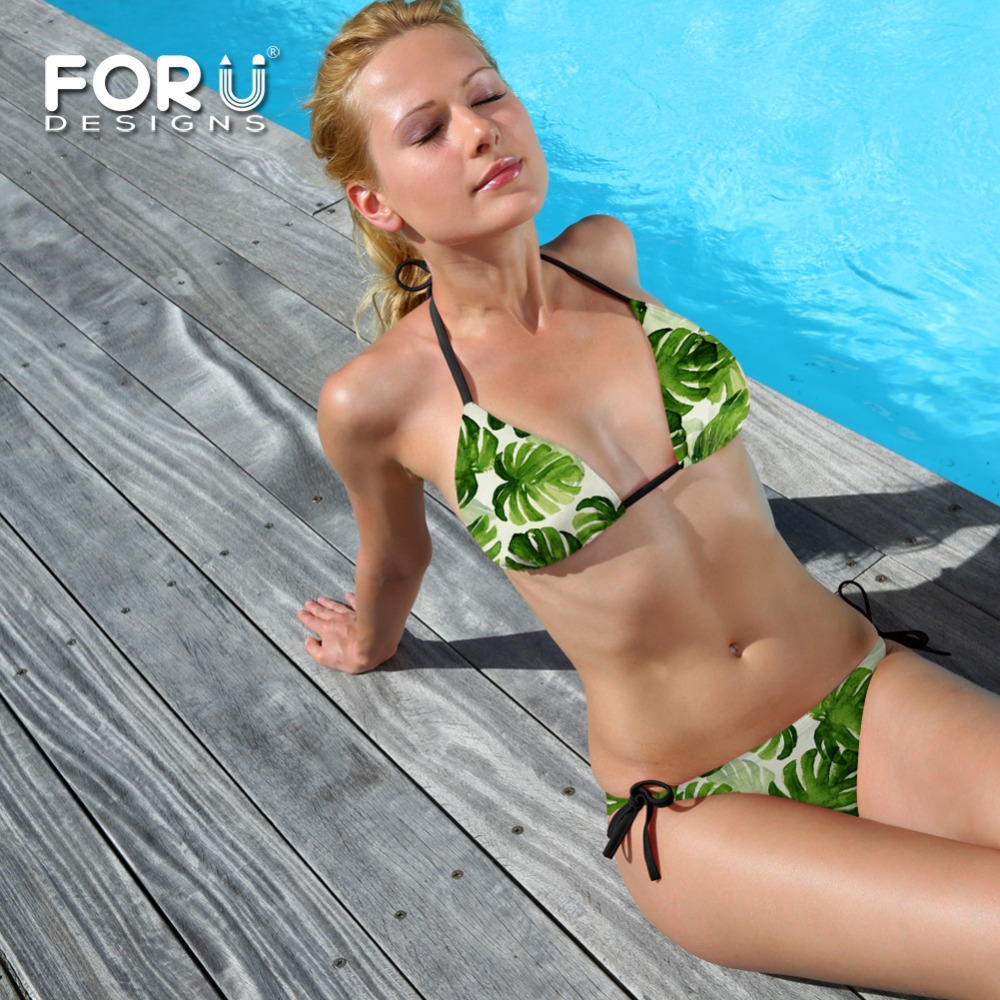 women green palm tree sexy bikini sets low waist string push up