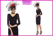 2014 New Arrival Sexy Black Three Quarter Sheath With Sequined Appliques Knee Length Chiffon Mother of the Bride Dresses WE-21