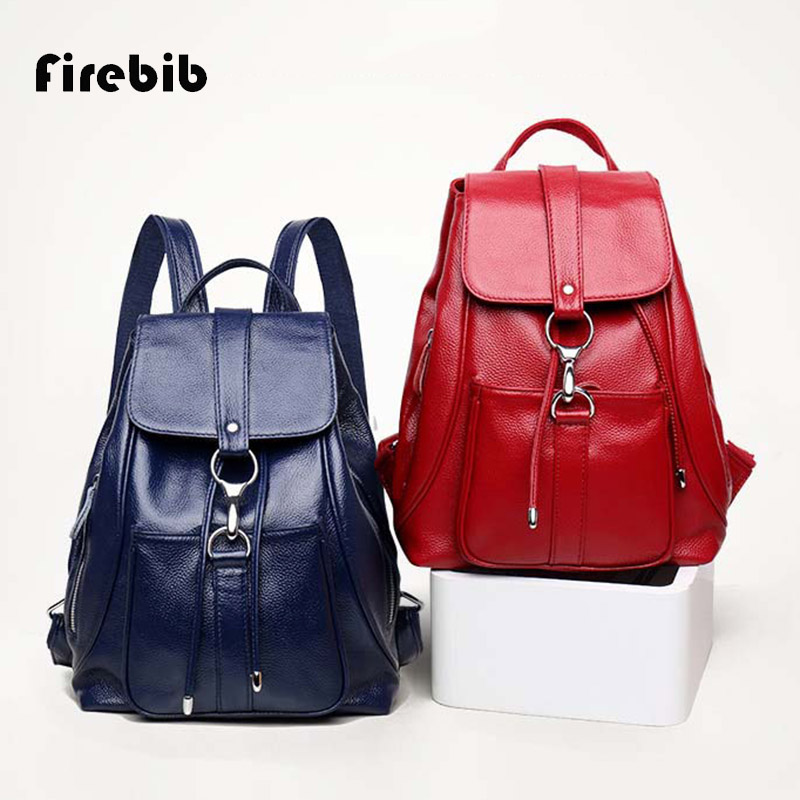 FireBib 2018 New Arrival Women Backpack 100% Genuine Leather Ladies Travel Bags Preppy Style Schoolbags For Girls High Quality new designer women backpack for teens girls preppy style school bag genuine leather backpack ladies high quality black rucksack