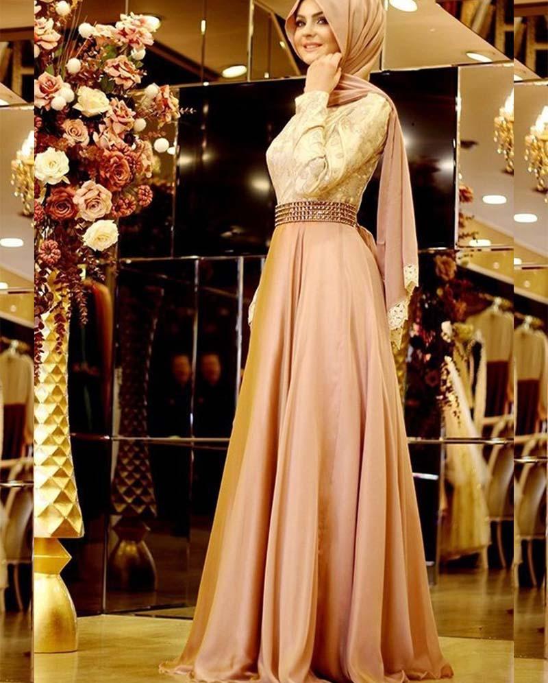 Vestidos De Gala Elegant Long Sleeve Muslim Evening Dresses Abaya In Dubai  Beaded Appliques Arabic Evening Gowns Dresses-in Evening Dresses from  Weddings ... 9acd93ae475e