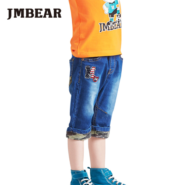 JMBEAR boys calf-length jeans kids shorts pants camouflage casual clothing for baby spring summer new