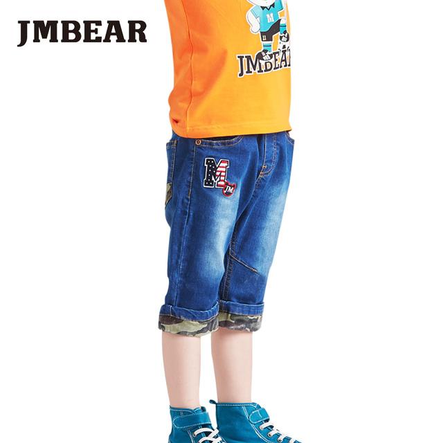 Jmbear meninos bezerro-comprimento calça jeans crianças shorts calças de camuflagem roupas casuais para o bebê primavera verão novo
