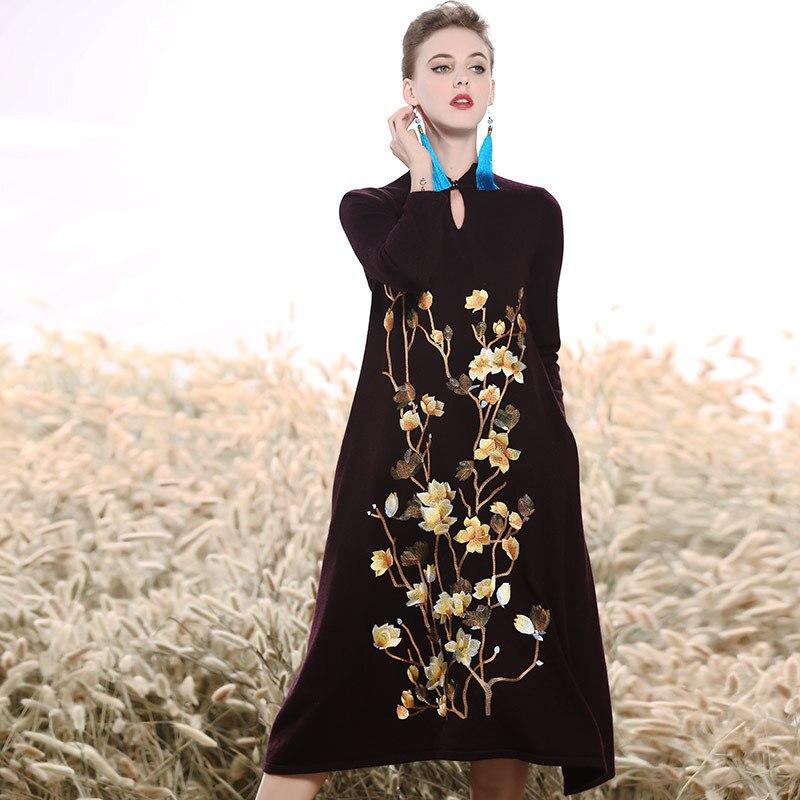 Haut de gamme Automne hiver robe vintage royal broderie lâche noir robe de mode piste lady Vison cachemire A-ligne robe M-XXL