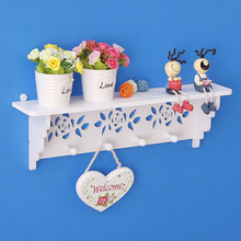1pcs Modern minimalist garden Rose Wall Upper Shelf Hook Hanger Hanger Decoration Bedroom Living Room Word Shelf Wall