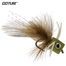 Goture 5pcs/Lot Fly Fishing Lure Bait Topwater Popper Surface Dry Flies for Carp Bass Fishing with Mustard Hook 3#