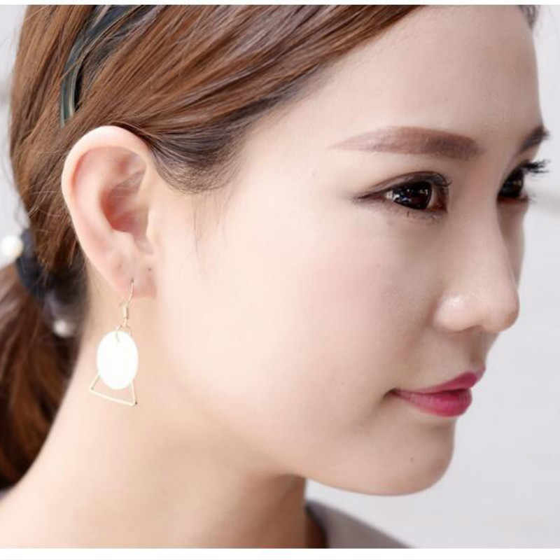 Korean Style Jewelry Natural Shell Earrings Triangular Circular Superimposed Simple Design Ladies Earrings For Women Wholesale