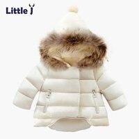 Little J Kids Fur Hooded Jackets Boy Girl Snow Wear Parkas Winter Warm Baby Coat Outerwear