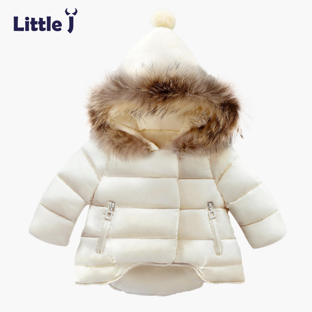 Little J Kids Fur Hooded Jackets Boy Girl Snow Wear Parkas Winter Warm Baby Coat Outerwear Children Clothes Zipper Pocket Jacket
