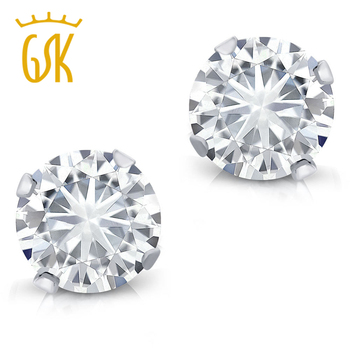 Charles & Colvard 1/2 cttw Forever Classic Round Moissanite Stud Earrings For Women Solid 14K White Gold Fine Jewelry