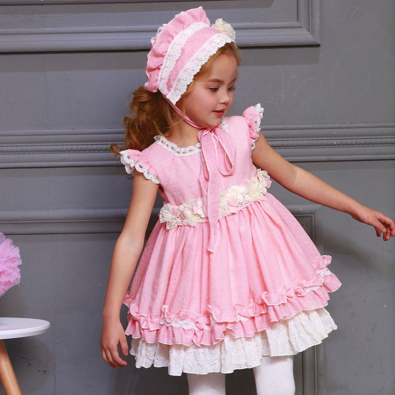 2019 Spring summer Spanish girl quality cotton dress pink princess dress long bow lace Birthday party wedding Dress 2 6years