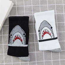 2 Pair/Lot Harajuku Happy Men Socks Hip Hop Funny Mens Meias Women Animal Shark Street Novelty Skateboard Sock Combed Cotton Sox