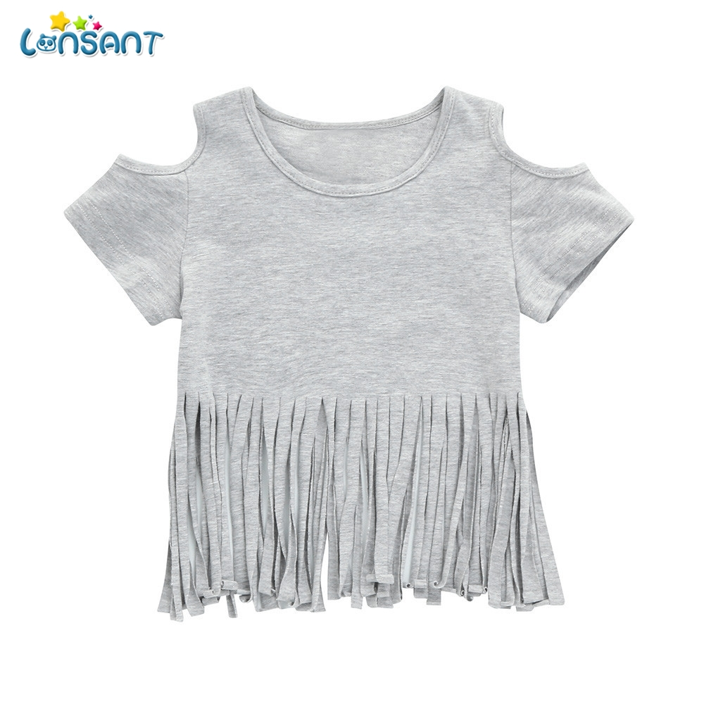 LONSANT 2018 New Arrival Summer Fashion Infant Baby Girls Short Sleeve Tassel Off shoulder T shirt Tops Gray Clothes
