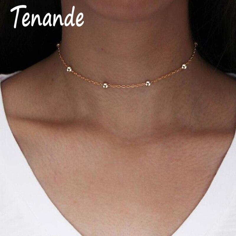 2019 Mode Tenande 2 Farbe Einfachen Stil Schlüsselbein Kette Halsketten Legierung Perlen Halsband Halsketten Für Frauen Schmuck Party Geschenk Bijoux Collier