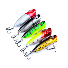 5pcs/lot  Popper Hard Bait Wobbler Fishing Lures 73mm/11g  Sea Fishing Trolling Wobbler Bait Artificial Treble Hook Minnow Lure