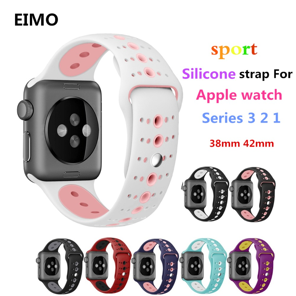 NEW Sport Silicone strap For Apple Watch Band Iwatch straps 42mm 38mm Series 3 2 1 Wrist bands Belt Watchbands Accessories colorful soft silicone sport band for apple watch bands 42mm wrist bracelet strap for apple watch series 3 2 1 iwatch watchbands