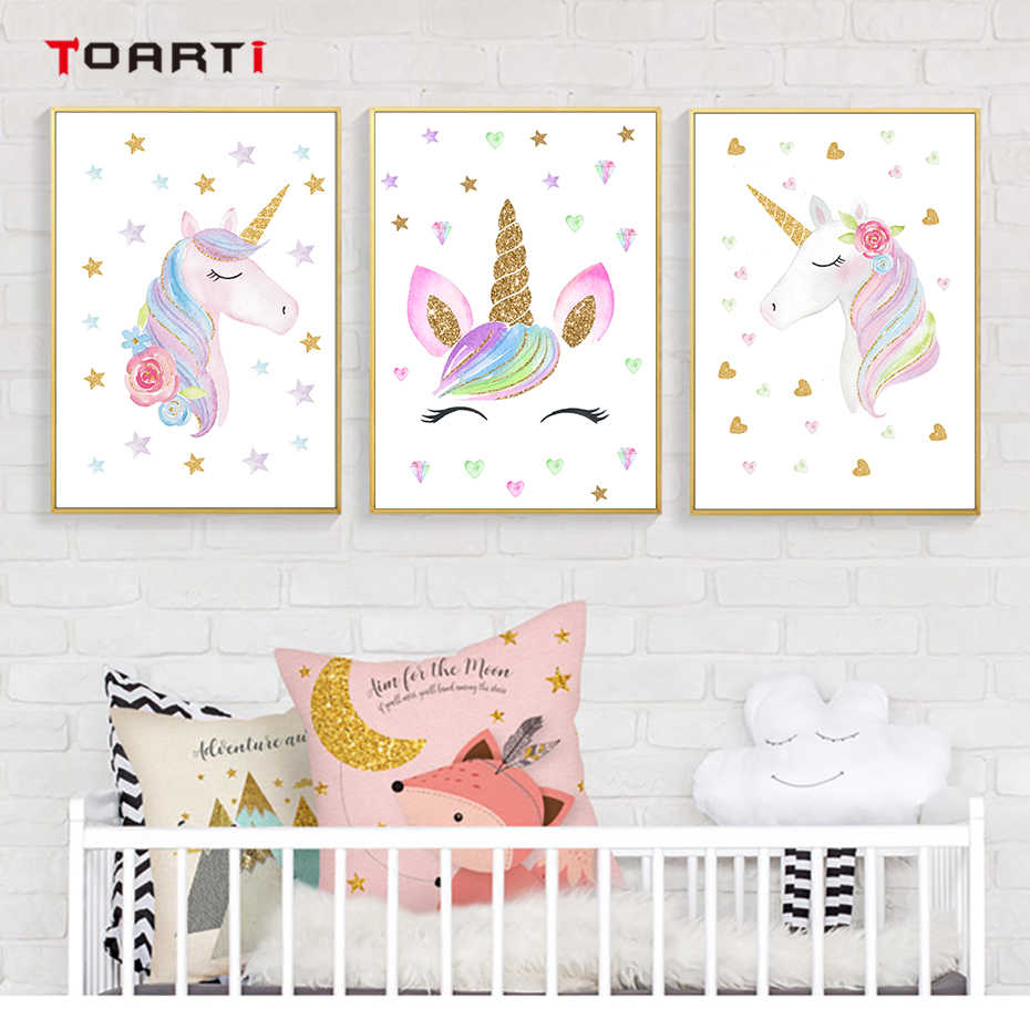 Cartoon star pink unicorn canvas painting wall art murals chart picture modern poster and print for kids baby bedroom home decor