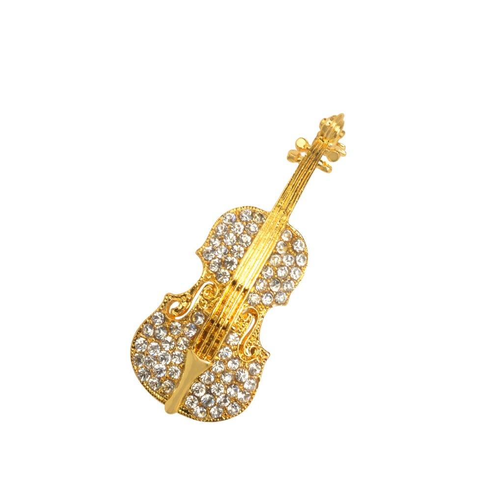 Broschen Violine mit Kristallsteinen Crystal Rhinestone Violin Cello Music Instrument Brooch Pin