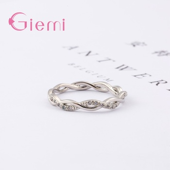 Fine Solid Pure 925 Sterling Silver Rings for Women Men AAA Cubic Zircon Cross Twisted Stackable Wedding Engagement Jewelry 4