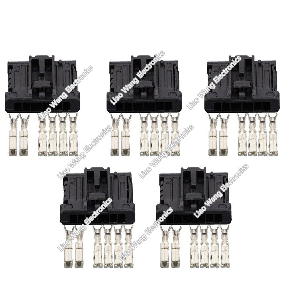 5 Sets 6 pin black rectangular connector with terminal DJ7061-1.5 2.8-21 6P Automotive Connectors
