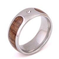 Мода 2017 г. простой Титан Сталь дерево мозаика кольцо обручальное бренд 8 мм Вольфрам карбида Кольца для Для женщин ювелирные изделия
