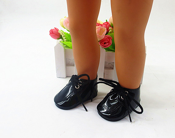 American Girl Doll Accessories of Black PU Leather Doll Shoes for 18 American Girl Dolls and Other 18 Girl Dolls
