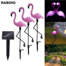 3 предмета в комплекте солнечной Фламинго фонарь для столба Фонари Солнечная приведенная в действие Автомобильная подсветка на открытом воздухе Водонепроницаемый садовый декоративный Газон Двор лампы