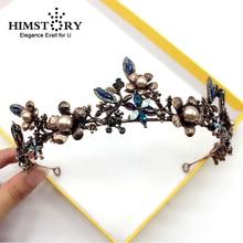 HIMSTORY  Baroque Retro Bronze Pearl Black Flower&Leaf Crown Bridal Wedding Jewelry Crowns Pageant Dress Hair Accessories все цены
