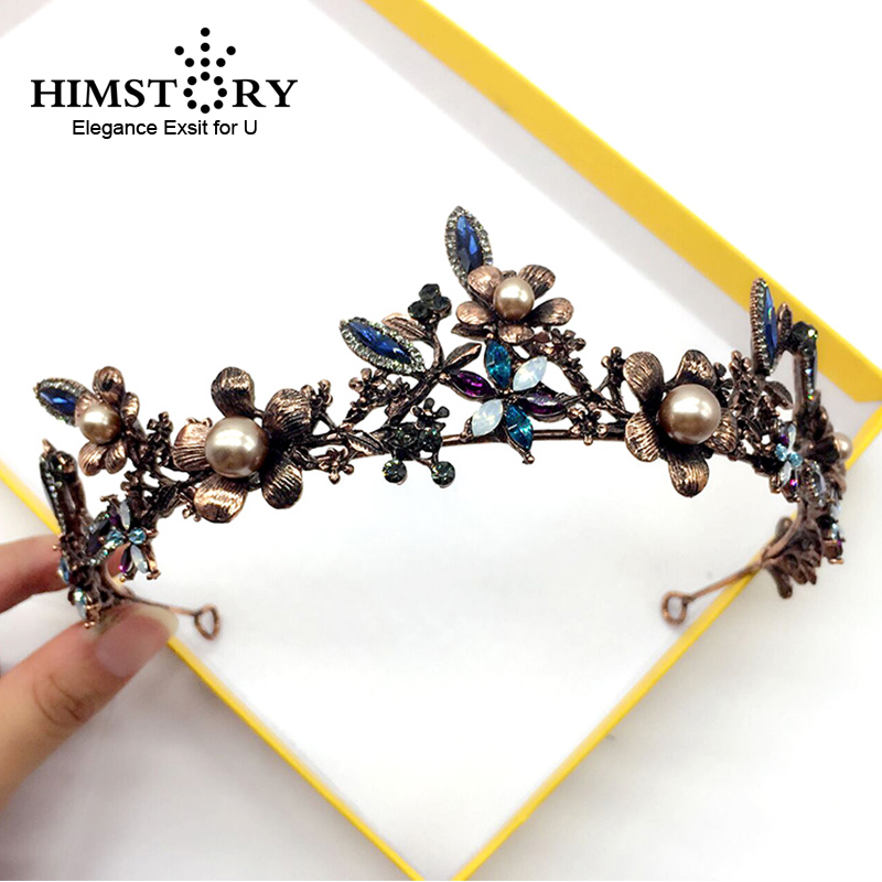 HIMSTORY Baroque Retro Bronze Pearl Black Flower&Leaf Crown Bridal Wedding Jewelry Crowns Pageant Dress Hair Accessories