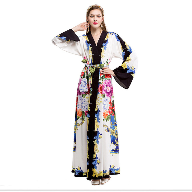 Plus Size Women Dress 2017 Robe Elegant Vintage Floral Winter Ladies Long Sleeve Evening Party Maxi Ukraine Fall Dresses Vestido