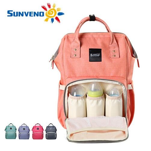 Sunveno Fashion Mummy Maternity Nappy Bag Brand Large Capacity Baby Bag Travel Backpack Desinger Nursing Bag