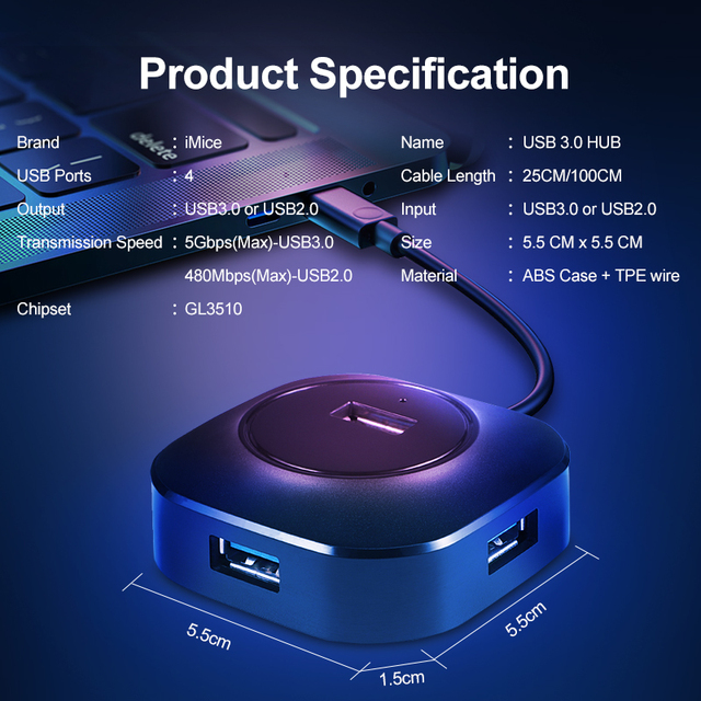 USB Hub USB 3.0 Hub 2.0 Multi USB Splitter Adapter 4 Ports Speed Mini Multiple 3 Hab usb3.0 HUB Port USB-Hub Expander For PC 1