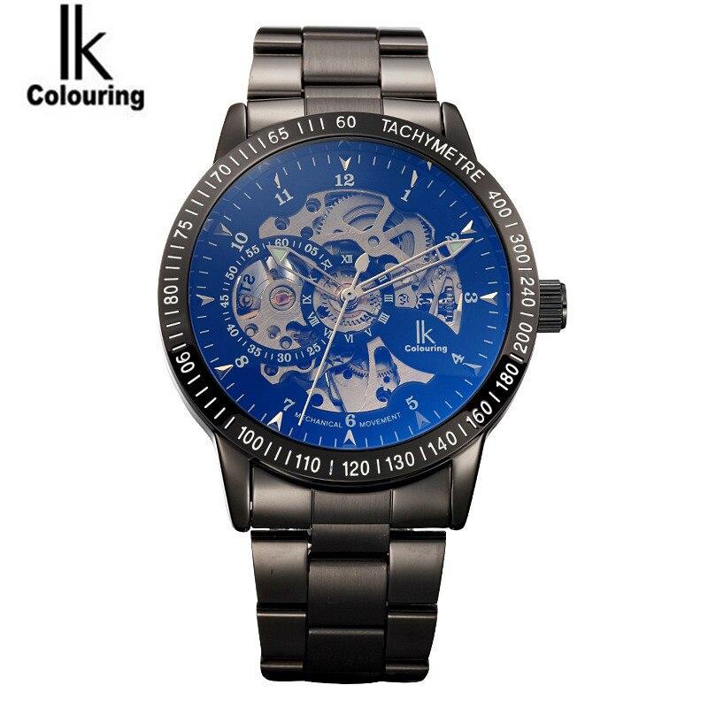 ФОТО Luxury IK Coloring Casual Watches Men's Allochroic Skeleton Dial Auto Mechanical Wristwatch Original Box Free Ship