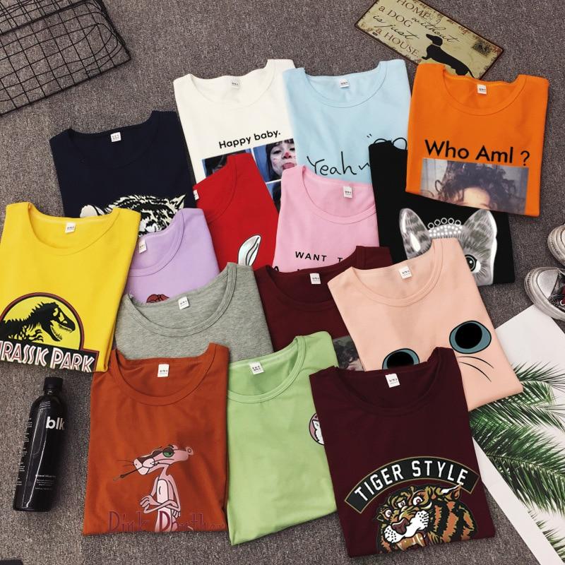 New Fashion T shirt Woman Spring Summer Girls Print Short Sleeve O Neck Cotton Spandex Women Top Slim Fit Soft Women Tshirt 12