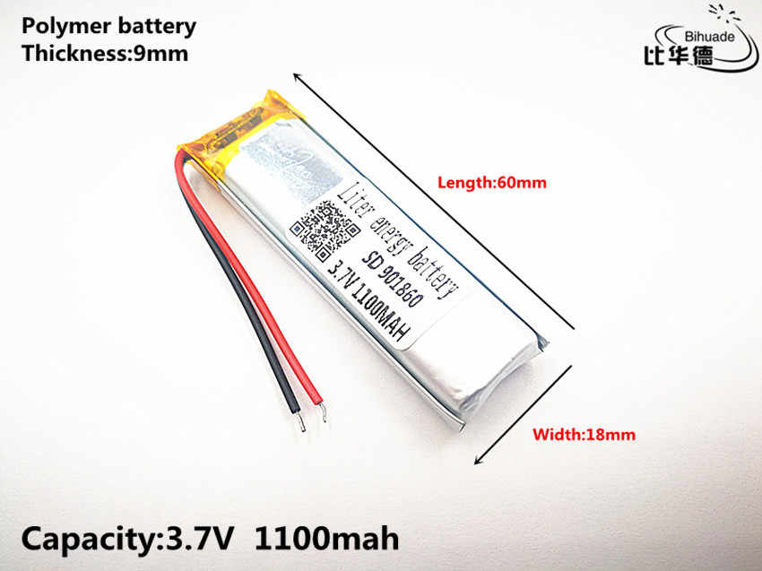 Liter energy battery Good Qulity 3.7V,1100mAH,901860 Polymer lithium ion / Li-ion battery for TOY,POWER BANK,GPS,mp3,mp4