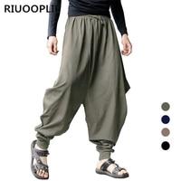 RIUOOPLIE New Men's Casual Harem Japanese Trousers Retro Cotton Linen Hakama Pants