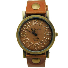 Женские Элегантные часы в стиле ретро с тиснением и большим номером, 14 цветов, кожаный ремешок, кварцевые часы для женщин, модные женские винтажные часы
