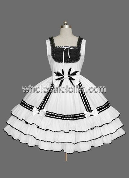 Cheap Black And White Sleeveless Lolita Dress Under 100 Ball Gown