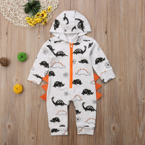 Mother & Kids Intelligent Cartoon Newborn Toddler Baby Boy Girl Dinosaur Long Sleeve Zipper Hooded Romper Jumpsuit Outfits Clothes Costume 50% OFF Boys' Baby Clothing