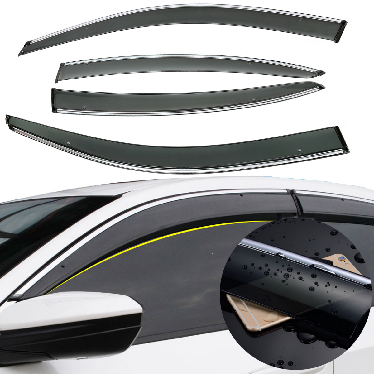 4Pcs/Set Auto Awnings Shelters Accessories Car Window Vent Visor Wind Deflector Durable Rain Sun Guard For VW For Polo/ 2009 for suzuki jimny car window visor wind deflector rain sun visor shield cover abs awnings shelters cover car accessory 2007 2015