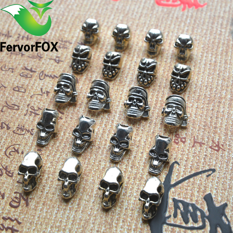 10psc/lot Keychain Ring Buckle Outdoor Paracord Accessories Pendant Metal Skull Pandora Beads Pirate Camping